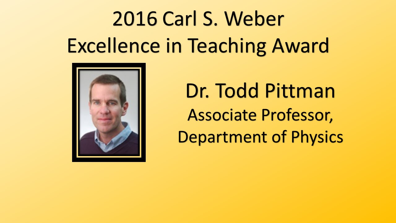2016 Carl S. Weber Excellence in Teaching Award